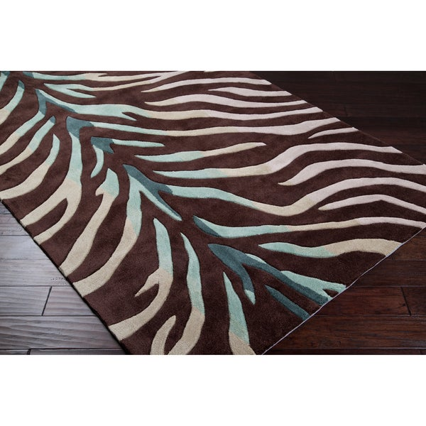 Hand Tufted Brown Blue Zebra Animal Print Retro Chic Rug