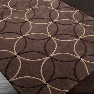 Hand-tufted Contemporary Brown Retro Chic Brown Geometric Abstract Area Rug - 8' x 11'