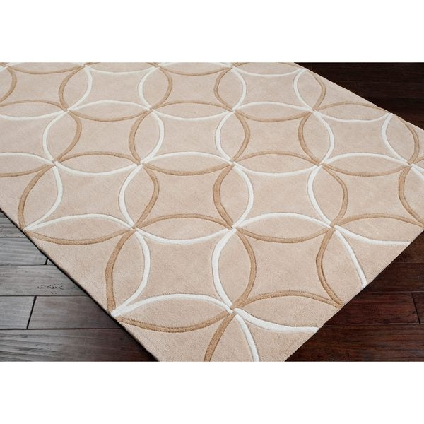 Hand-tufted Contemporary Beige Retro Chic Geometric Area Rug