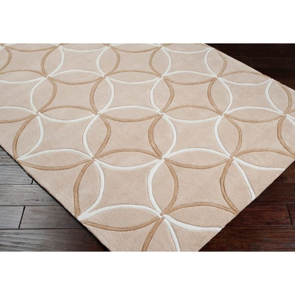 Hand-tufted Contemporary Beige Retro Chic Geometric Area Rug (8' x 11')