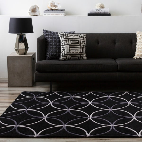 Hand-Tufted Contemporary Retro Chic Green/Black Geometric Abstract Area Rug - 8' x 11'