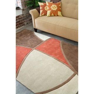 Hand-tufted Contemporary Retro Chic Green Brown/Red Floral Abstract Rug (5' x 8')