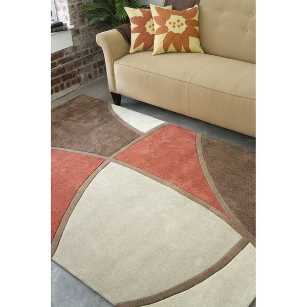 Hand-tufted Contemporary Retro Chic Green Brown/Red Floral Abstract Rug (8' x 11')