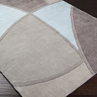 Hand-tufted Contemporary Retro Chic Green Grey/Blue Abstract Area Rug - 5' x 8'