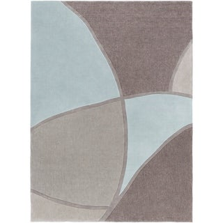 Hand-tufted Contemporary Retro Chic Green Grey/Blue Abstract Area Rug - 8' x 11'