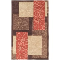 Hand-tufted Brown Floral Squares Area Rug - 5' x 8'