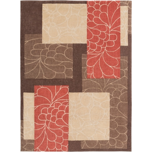 Hand-tufted Brown Floral Squares Area Rug - 8' x 11'