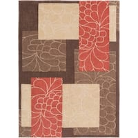 Hand-tufted Brown Floral Squares Area Rug (8' x 11')