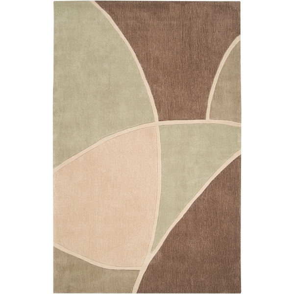 Hand-tufted Contemporary Retro Chic Green Brown/Green Abstract Area Rug - 5' x 8'