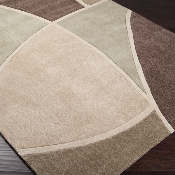 Hand-tufted Contemporary Retro Chic Green Brown/Green Abstract Rug (5' x 8')