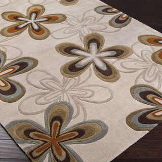 Hand-tufted Contemporary Beige Cosmopolitan Green Abstract Rug (5' x 8')