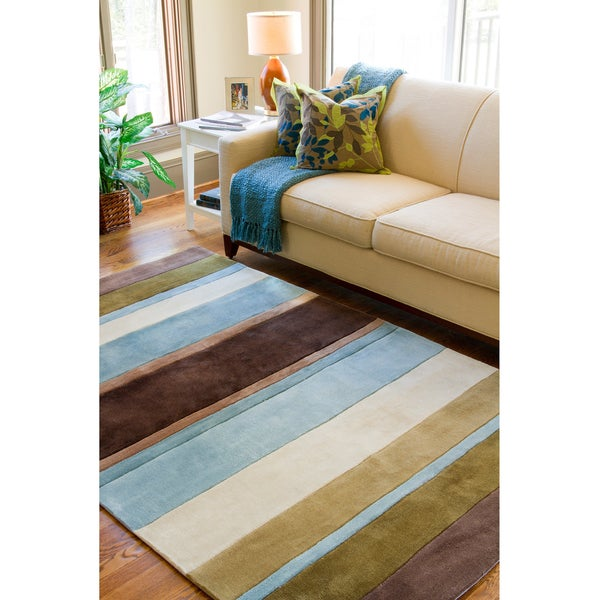 Hand Tufted Casual Brown Blue Stripe Striped Rug 5 X 8