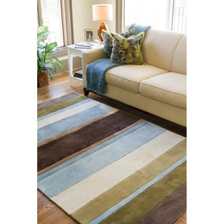 Hand-tufted Casual Brown/Blue Stripe Striped Rug (8' x 11')