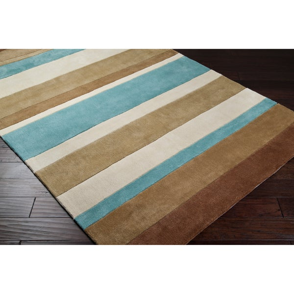 Hand-tufted Teal/Brown Stripe Rug (5' x 8')