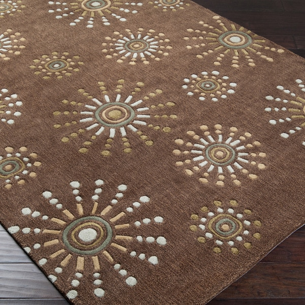 Hand-tufted Contemporary Retro Chic Green Brown Geometric