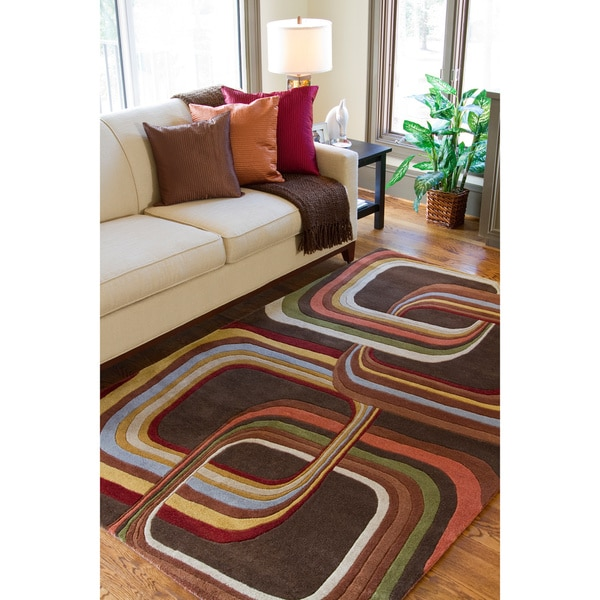 Hand-tufted Brown Contemporary Geometric Square Mayflower Wool Area Rug - 5' x 8'