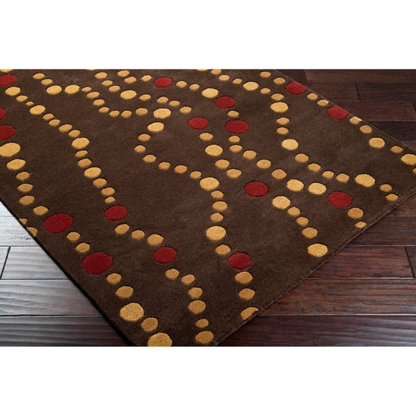 Hand-tufted Brown Contemporary Geometric Forum Wool Rug (5' x 8')