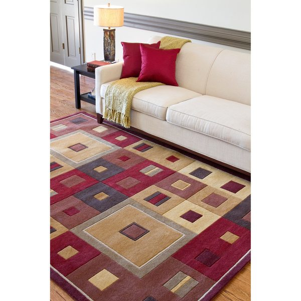 Hand-tufted Contemporary Red/Brown Geometric Square Burgundy Wool Abstract Area Rug - 8' x 11'