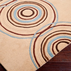 Hand-tufted Beige Contemporary Circles Wool Geometric Rug (5' x 8') - Thumbnail 1