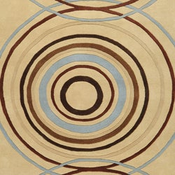 Hand-tufted Beige Contemporary Circles Wool Geometric Rug (5' x 8') - Thumbnail 2