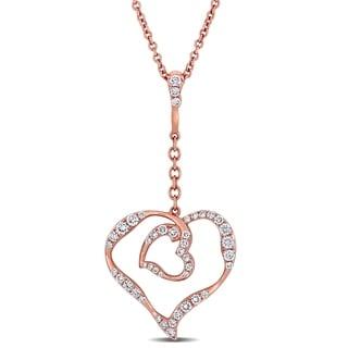 Miadora Signature Collection 18k Rose Gold 5/8ct TDW Diamond Heart Necklace (G-H, VS1-VS2)