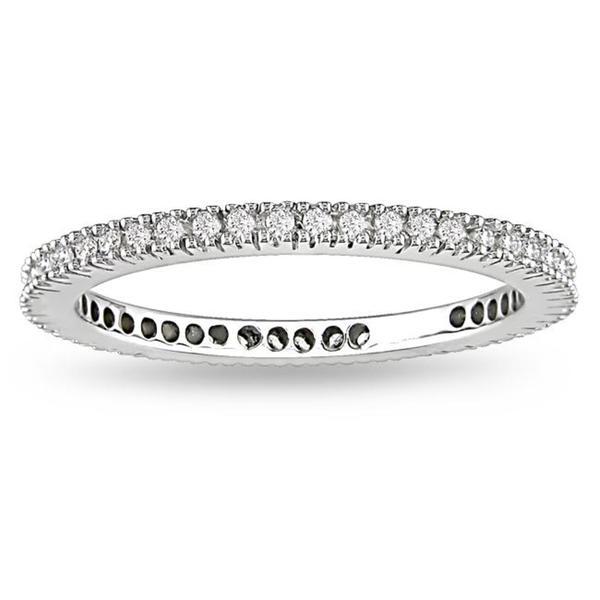 Miadora 18k White Gold 1/3ct TDW Certified Diamond Wedding Band (G-H, SI1-SI2)
