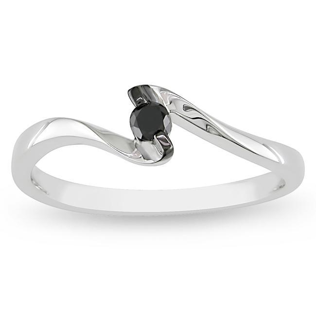 M by Miadora 10k White Gold 1/10ct TDW Black Diamond Promise Ring