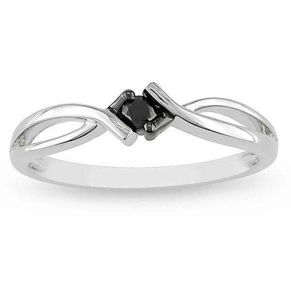 10k White Gold 1/10ct TDW Black Diamond Solitaire Promise Ring