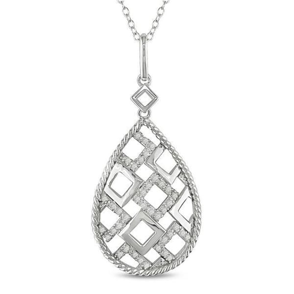 Miadora Sterling Silver 1/4ct TDW Diamond Necklace
