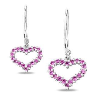 Miadora Sterling Silver Created Pink Sapphire and Diamond Earrings