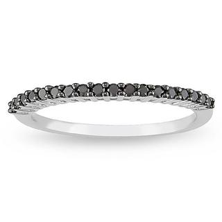 Miadora 10k White Gold 1/5ct TDW Black Diamond Ring