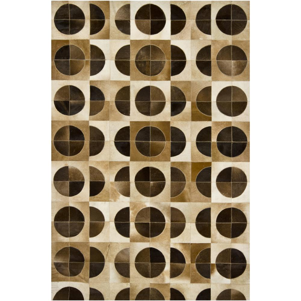 Artist's Loom Handmade Contemporary Geometric Natural Eco-friendly Leather Rug (7'9x10'6) - Thumbnail 0