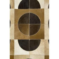 Artist's Loom Handmade Contemporary Geometric Natural Eco-friendly Leather Rug (7'9x10'6) - Thumbnail 2