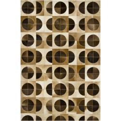 Artist's Loom Handmade Contemporary Geometric Natural Eco-friendly Leather Rug (7'9x10'6) - 7'9 x 10'6 - Thumbnail 0