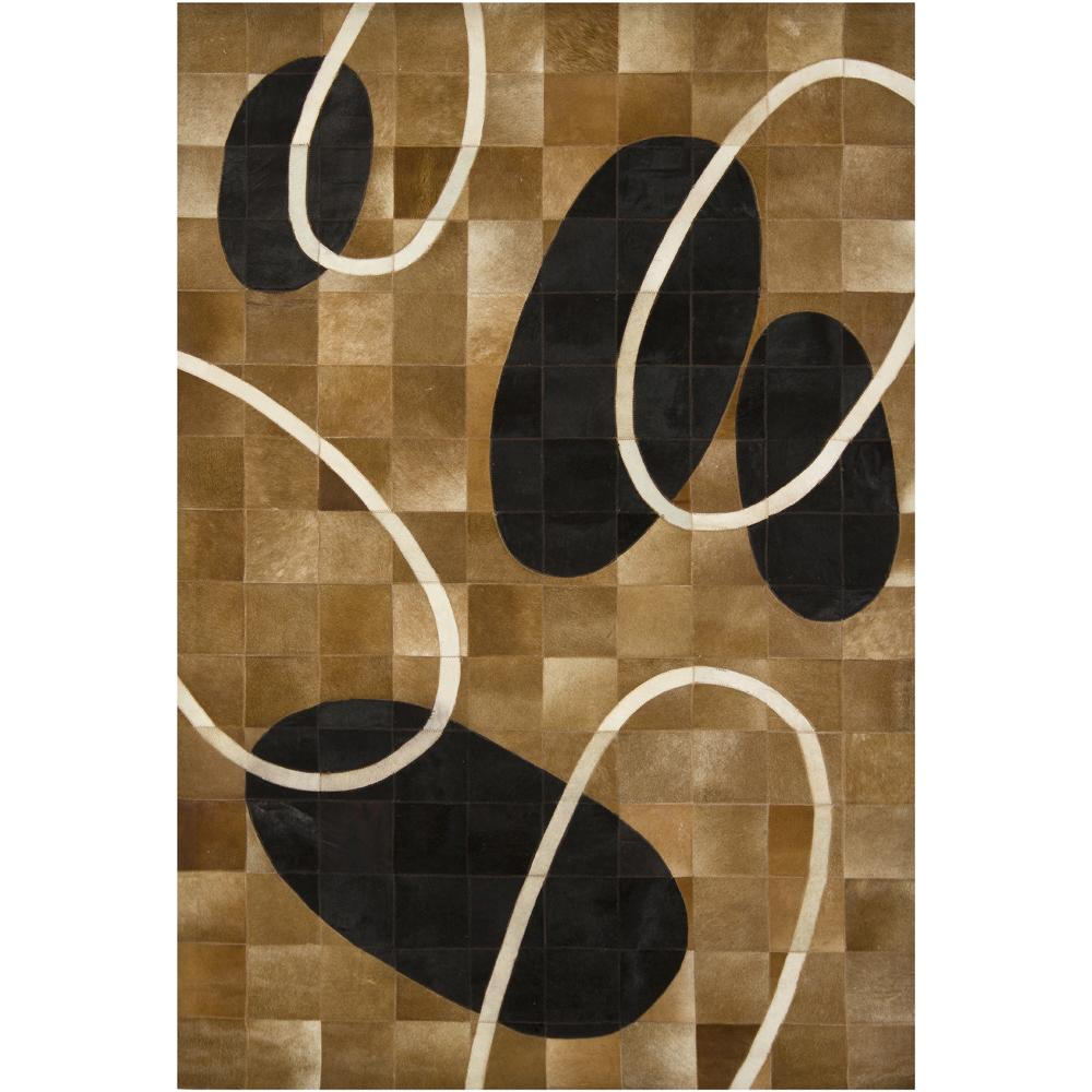 Artist's Loom Handmade Contemporary Geometric Natural Eco-friendly Leather Rug (5'x7'6)