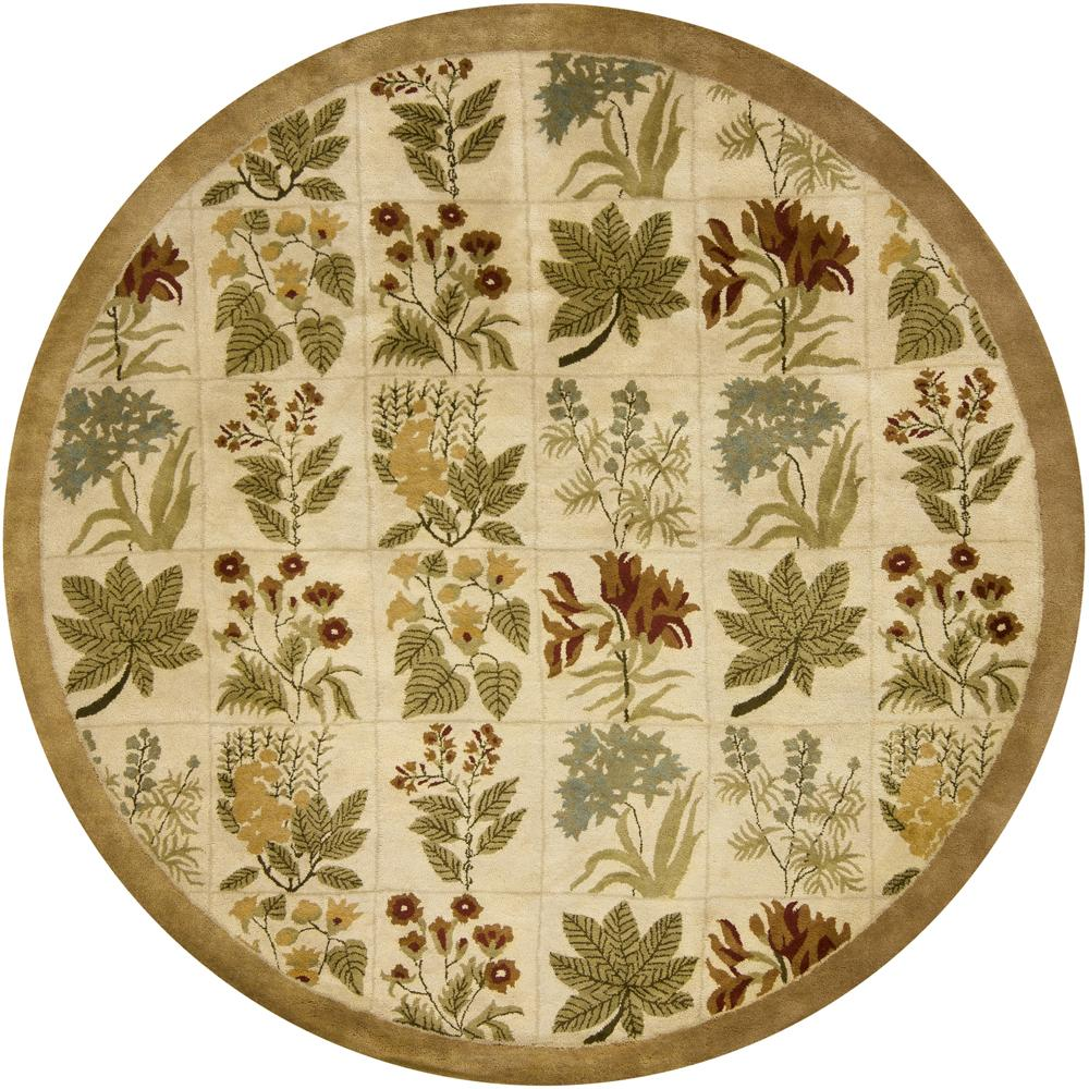 Hand-tufted Mandara Beige Floral New Zealand Wool Rug (7'9 Round)