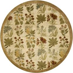 Hand-tufted Mandara Beige Floral New Zealand Wool Rug (7'9 Round) - Thumbnail 1