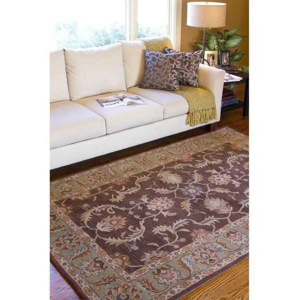 Hand-tufted Traditional Coliseum Chocolate Floral Border Wool Area Rug (5' x 8')
