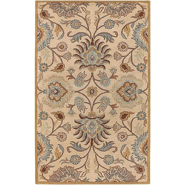 Hand-tufted Beige Wool Rug (5' x 8')