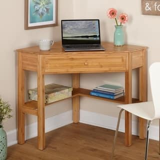 simple living bamboo corner desk - Home Office Corner Desk