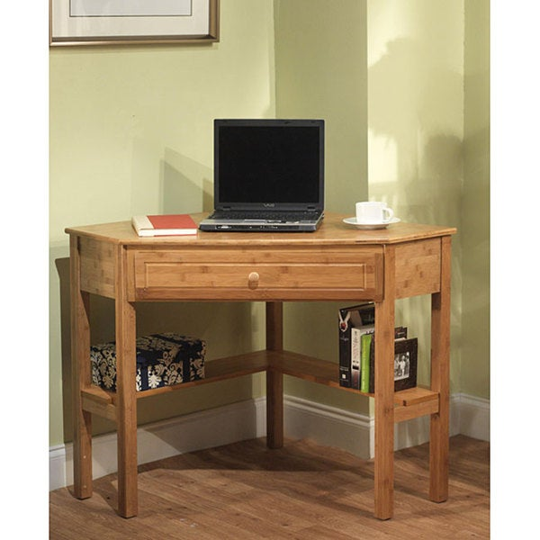 Simple Living Bamboo Corner Desk Free Shipping Today Overstock - Desks incorporate recessed computer technology