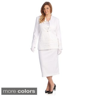 Divine Apparel Women's Plus-Size Three-Piece Skirt Suit with Long Jacket