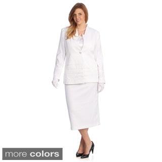 Divine Apparel Women's Plus-Size Three-Piece Skirt Suit with Long Jacket