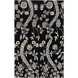 Hand-knotted Andes Black Wool Area Rug - 5' x 8'