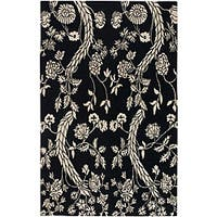 Hand-knotted Andes Black Wool Area Rug (5' x 8') - 5' x 8'