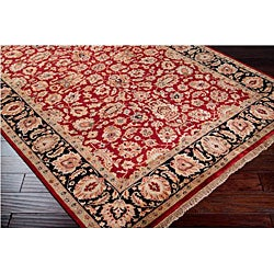 Hand-knotted Medallion Burgundy Wool Rug (5'6 x 8'6) - Thumbnail 1