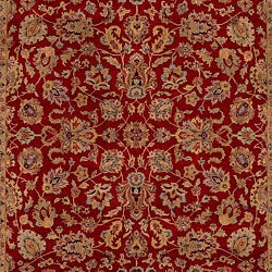 Hand-knotted Medallion Burgundy Wool Rug (5'6 x 8'6) - Thumbnail 2
