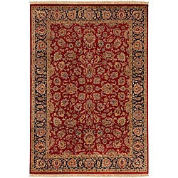 Hand-knotted Medallion Burgundy Wool Rug (5'6 x 8'6)