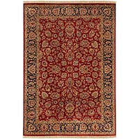 Hand-knotted Medallion Burgundy Wool Area Rug (5'6 x 8'6) - 5'6 x 8'6