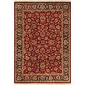 Hand-knotted Medallion Burgundy Wool Area Rug (5'6 x 8'6)